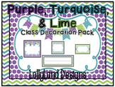 Purple, Turquoise, & Lime Classroom Decoration Pack