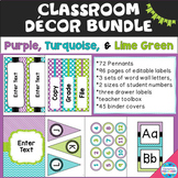 Purple, Turquoise, and Lime Green Decor Bundle