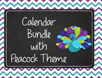 Purple, Turquoise, and Lime Green Peacock Calendar Bundle