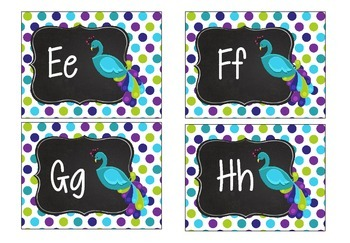 Peacock Word Wall Purple, Teal, and Lime Green