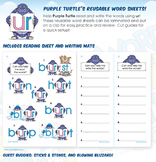 Purple Turtle's (ur) R-Controlled Vowels Reusable Word Sheets