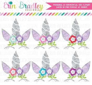 Purple Unicorn Watercolor Clipart