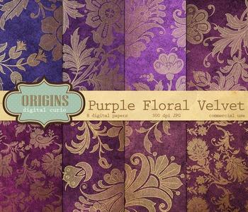 Purple Velvet Vintage Gold Floral Damask Digital Paper Backgrounds