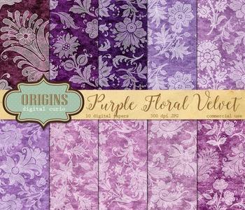 Purple Velvet White Floral Lace digital paper backgrounds textures patterns