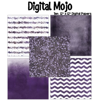 Purple Violet Watercolor Grunge Digital Papers (Grapes inspired)