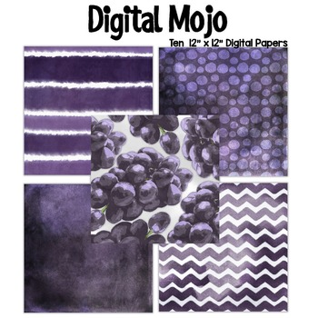 Purple Violet Watercolor Grunge Digital Papers (Grapes inspired)