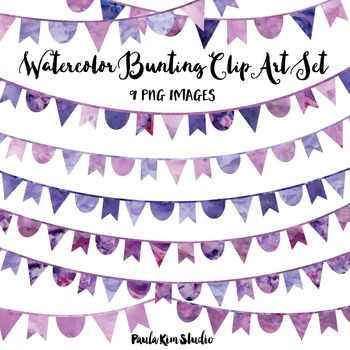 Purple Watercolor Bunting Clip Art