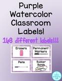 Purple Watercolor Classroom Labels