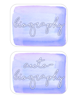 Genre Labels - Purple Watercolor