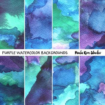 Purple Watercolor Digital Paper Backgrounds