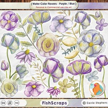 Purple Watercolor Flowers Clip Art, Digital ClipArt Flower
