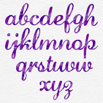 Purple Watercolor Letters