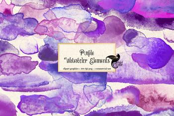 Purple Watercolor Paint Elements clipart, png watercolour clip art blobs