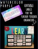 Purple Watercolor Teacher Toolbox Organizer Labels (editable)