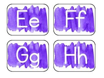 Purple Watercolor Word Wall Alphabet
