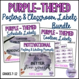 Purple Watercolour Classroom Labels & Posters for H.S. {Secondary}