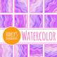 Purple Waves Handpainted Watercolor Digital Papers / Patterns / Backgrounds