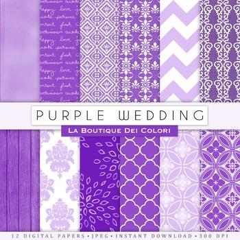 Purple Wedding Digital Paper, scrapbook backgrounds