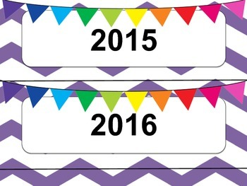 Purple & White Chevron Calendar Months