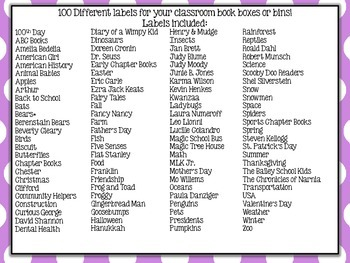 Purple & White Polkadot Classroom Library Labels