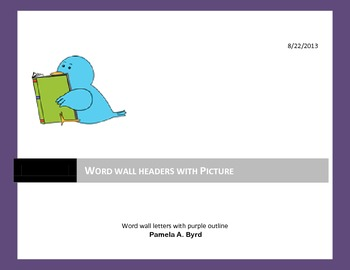 Purple Word Wall Headers with Picture