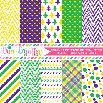 Purple Yellow and Green Digital Paper Pack