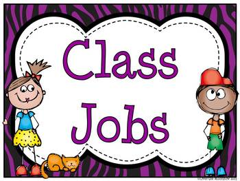Purple Zebra Stripe Classroom Jobs Display & Clip Chart