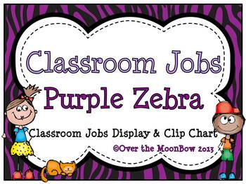 Purple Zebra Stripe Classroom Jobs Display & Clip Chart