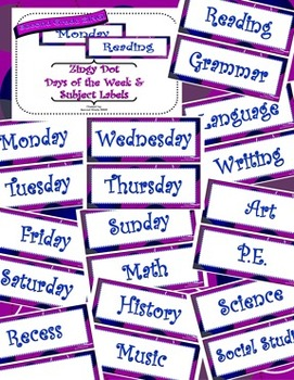 Purple Zingy Dot Days of Week and School Subject Classroom Display