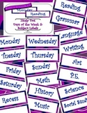 Purple Zingy Dot Days of Week and School Subject Classroom