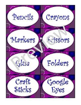 Purple Zingy Dot Supply Labels