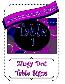 Purple Zingy Dot Table Signs