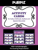 Purple activity cards for early childhood, Autism, and Special Education