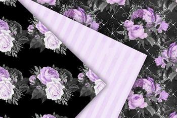 Purple and Black Floral Digital Paper