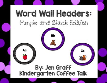Word Wall Headers: Purple and Black Edition