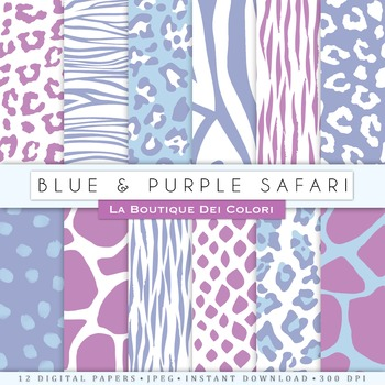 Purple and Blue Animal Prints Digital Paper, scrapbook backgrounds.