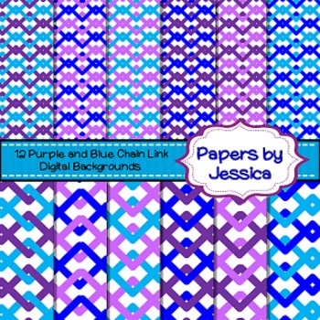 Digital Papers - Purple and Blue Chain Link