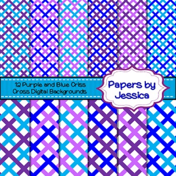 Digital Papers - Purple and Blue Criss Cross