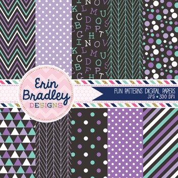 Purple and Blue Digital Paper Pack