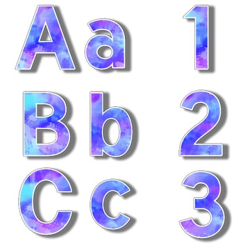 Purple and Blue Watercolor Letters Numbers and Symbols 300dpi Resizable Letters