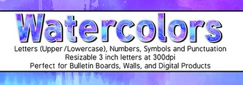 Purple and Blue Watercolor Letters Numbers and Symbols 300