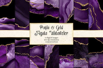 Purple and Gold Agate Watercolor Textures