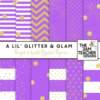 Purple and Gold Digital Papers Set