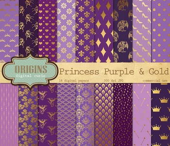 Purple and Gold Fairy Princess digital paper pack