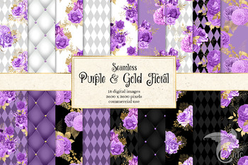 Purple and Gold Floral Digital Paper, printable flower patterns