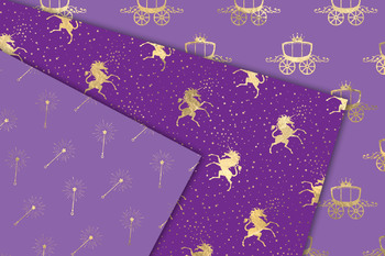 Purple and Gold Princess Digital Paper