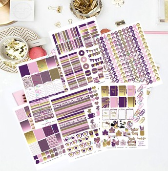 Purple and Gold Printable Planner Stickers