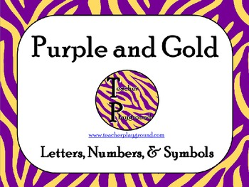 Purple and Gold Zebra Print Letters, Numbers, & Symbols