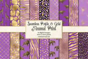 Purple and Gold animal skins digital paper, safari patterns