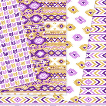 Purple and Gold aztec Digital Paper, Boho seamless patterns backgrounds
